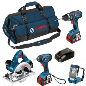 Bosch BAG+4DS 18V 4 Piece Kit GSB GDR GKS GLI With 3X4AH Batteries