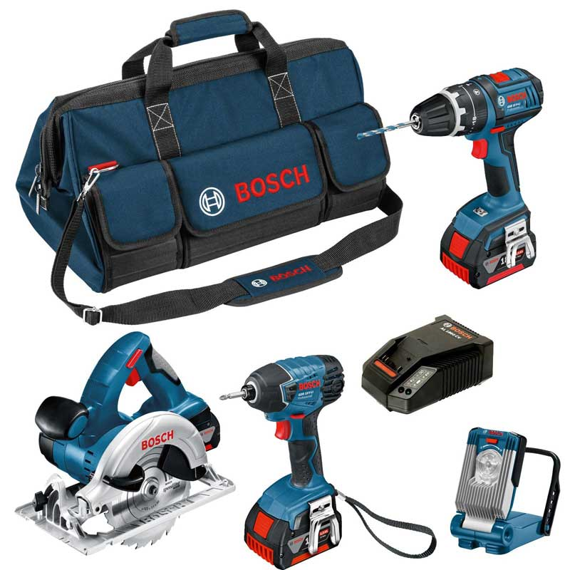 NRG Store August Top Product Picks - Bosch BAG+4DS 18V 4 Piece Kit GSB GDR GKS GLI With 3X4AH Batteries