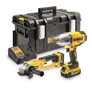 Dewalt DCK269P2 18V Brushless Impact Wrench & Grinder Kit With 2X5AH Batteries