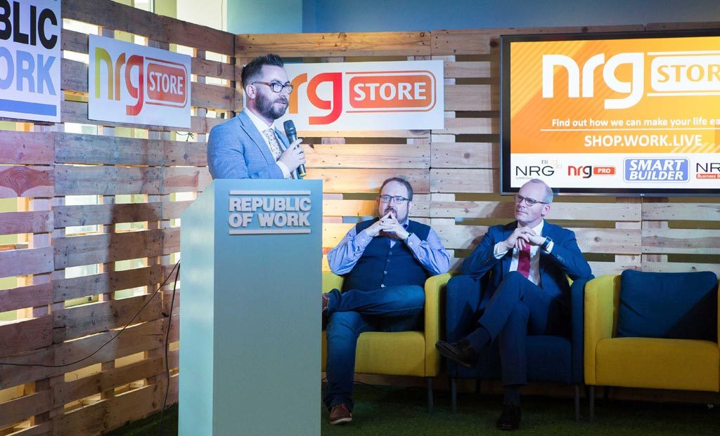 Patrick Hogan (Group managing director of NRG Store) speaking at the NRG Store launch with Tánaiste Mr. Simon Coveney and DC Cahalane (CEO of Republic of Work)