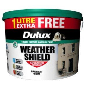 Dulux Weathershield Brilliant White 10L+10% Extra Free