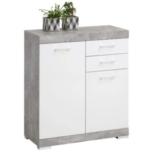 FMD Dresser with 2 Doors & 2 Drawers 80×34.9×89.9 cm Concrete and White