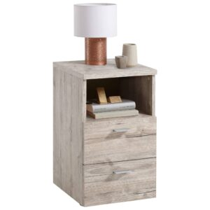 FMD Bedside Cabinet with 2 Drawers and Open Shelf Sand Oak
