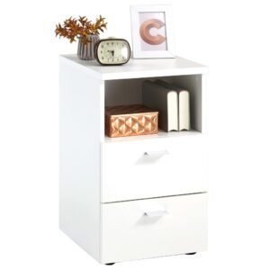 FMD Bedside Cabinet with 2 Drawers and Open Shelf White