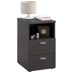 FMD Bedside Cabinet with 2 Drawers and Open Shelf Black