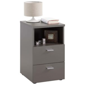 FMD Bedside Cabinet with 2 Drawers and Open Shelf Lava Grey