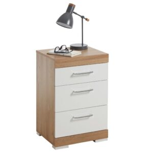 FMD Bedside Table with 3 Drawers White and Antique Oak