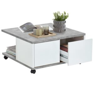 FMD Mobile Coffee Table 70x70x35.5 cm Concrete and Glossy White