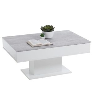 FMD Coffee Table Concrete Grey and White