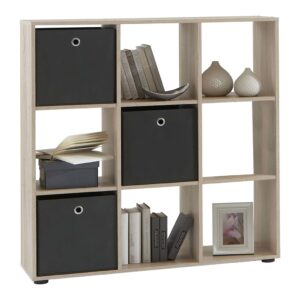 FMD Standing Shelf with 9 Compartments Oak Tree