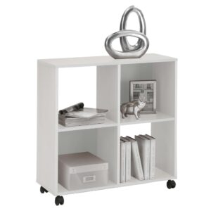 FMD Shelf on Swivel Wheels with 4 Compartments White