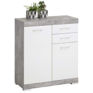 FMD Dresser with 2 Doors & 2 Drawers 80×34.9×89.9cm Concrete and White