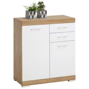 FMD Dresser with 2 Doors & 2 Drawers 80×34.9×89.9 cm White and Oak