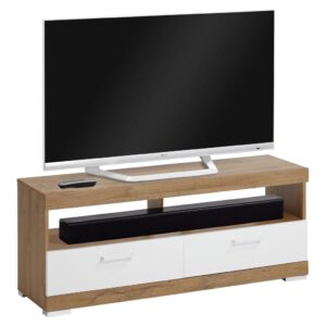 FMD TV/Hi-Fi Stand Antique Oak and Glossy White
