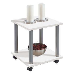 FMD Side Table with Swivel Wheels White