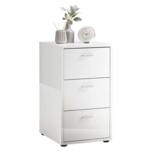 FMD Bedside Table with 3 Drawers High Gloss White