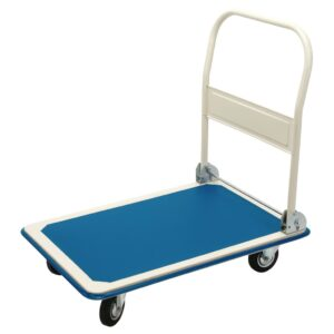 Draper Tools Platform Trolley with Folding Handle Blue and White 90x60x85 cm