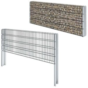 vidaXL 2D Gabion Fence Galvanised Steel 2008×830 mm 4 m Grey