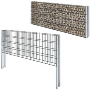 vidaXL 2D Gabion Fence Galvanised Steel 2008×830 mm 10 m Grey