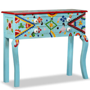 vidaXL Console Table Solid Mango Wood Blue Hand Painted