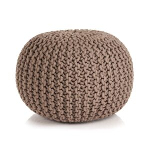 vidaXL Hand-Knitted Pouffe Cotton 50×35 cm Brown