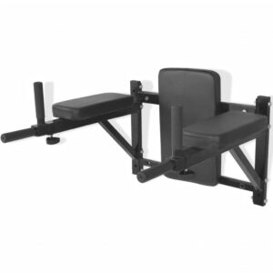 vidaXL Wall-mounted Fitness Dip Station Black