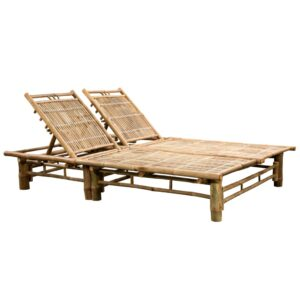 vidaXL 2-Person Sun Lounger Bamboo