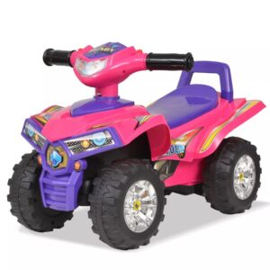 vidaXL Children's Ride-on ATV with Sound and Light Pink and Purple