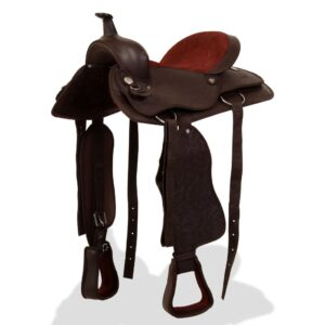 vidaXL Western Saddle, Headstall&Breast Collar Real Leather 17″ Brown