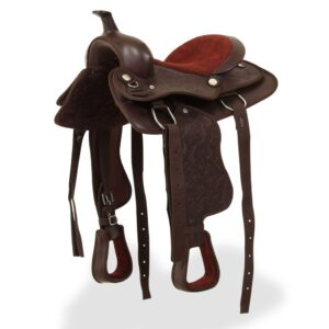 vidaXL Western Saddle, Headstall&Breast Collar Real Leather 12″ Brown