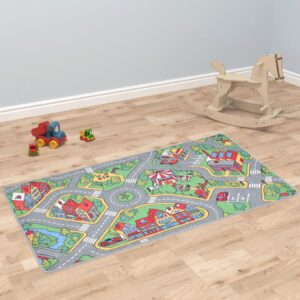 vidaXL Play Mat Loop Pile 90×200 cm City Road Pattern
