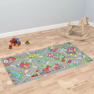 vidaXL Play Mat Loop Pile 133×190 cm City Road Pattern