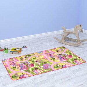 vidaXL Play Mat Loop Pile 133×190 cm Sweet Town Pattern