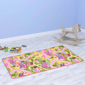 vidaXL Play Mat Loop Pile 190×290 cm Sweet Town Pattern