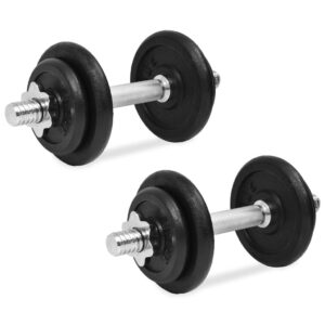 vidaXL 14 Piece Dumbbell Set 20 kg Cast Iron