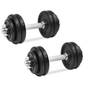 vidaXL 18 Piece Dumbbell Set 30 kg Cast Iron