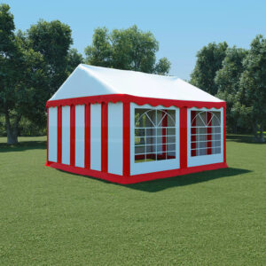 vidaXL Garden Marquee PVC 4×4 m Red and White