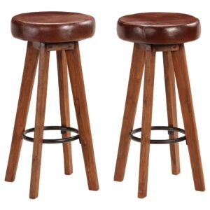 vidaXL Bar Chairs 2 pcs Solid Acacia Wood Real Leather 45x45x76 cm