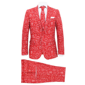 vidaXL 2 Piece Men's Christmas Suit with Tie Size 46 Gifts Red