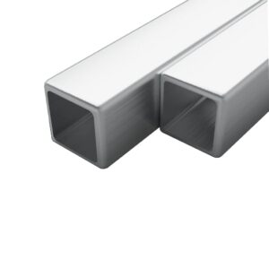 vidaXL 2x Stainless Steel Tubes Square Box Section V2A 2m 15x15x1.5mm