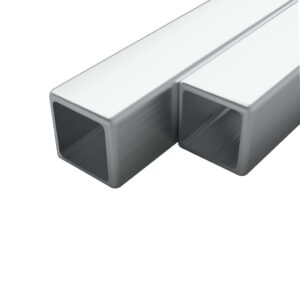 vidaXL 2x Stainless Steel Tubes Square Box Section V2A 1m 25x25x1.9mm
