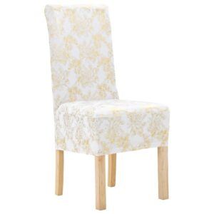 vidaXL 6 pcs Straight Chair Covers Stretch White with Golden Print