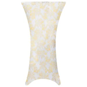 vidaXL 2 pcs Table Covers Stretch 70 cm White with Golden Print