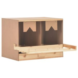 vidaXL Chicken Laying Nest 2 Compartments 63x40x45 cm Solid Pine Wood