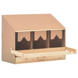 vidaXL Chicken Laying Nest 3 Compartments 72x33x54 cm Solid Pine Wood