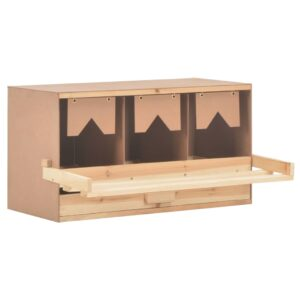 vidaXL Chicken Laying Nest 3 Compartments 72x33x38 cm Solid Pine Wood