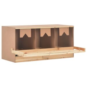 vidaXL Chicken Laying Nest 3 Compartments 96x40x45 cm Solid Pine Wood