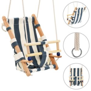 vidaXL Baby Swing with Safety Belt Cotton Wood Blue
