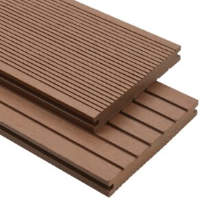 vidaXL WPC Solid Decking Boards with Accessories 30m² 2.2m Light Brown