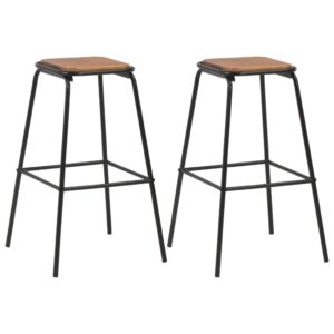 vidaXL Bar Stools 2 pcs Black Solid Pinewood and Steel